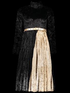 Sleeve Mock Long Neck Robe Plissée - Noir S