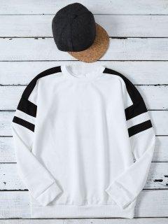 Casual Color Block Sweatshirt - White M
