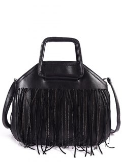 Faux Leather Fringed Handbag - Black