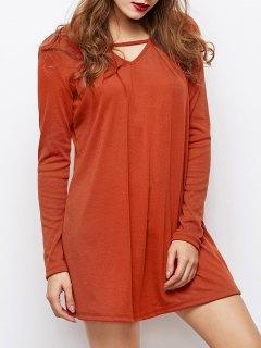 Long Sleeves Swing V Neck Dress - Dark Auburn M