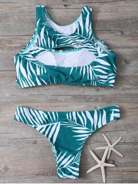 women's Tropical Print Cut Out Bikini Set - GREEN M Mobile