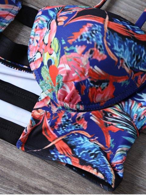 ladies Cutout Push Up Printed Bikini Set - BLUE M Mobile