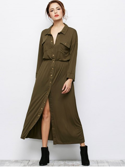 fancy Maxi Single Breasted Military Shirt Dress - ARMY GREEN M Mobile