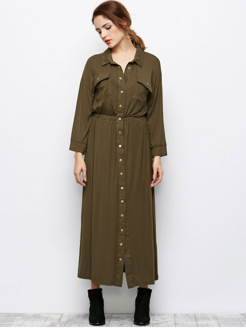 unique Maxi Single Breasted Military Shirt Dress - ARMY GREEN S Mobile
