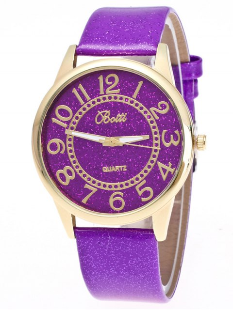 affordable Faux Leather Glitter Number Watch - PURPLE  Mobile