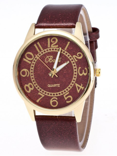 buy Faux Leather Glitter Number Watch - BROWN  Mobile