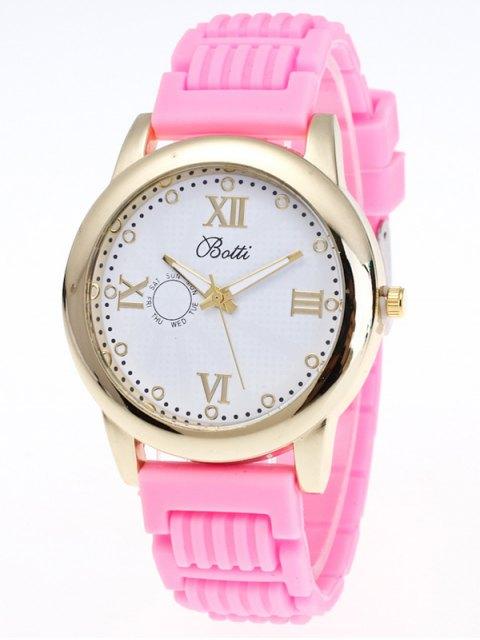 shop Silicone Roman Numerals Quartz Watch - PINK  Mobile
