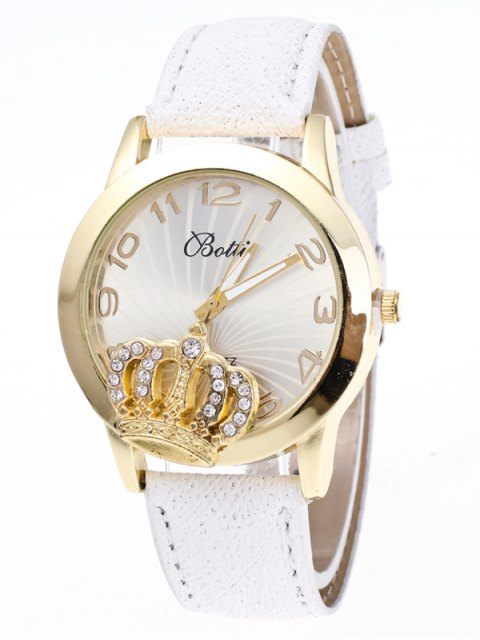 women's Faux Leather Crown Number Watch - WHITE  Mobile