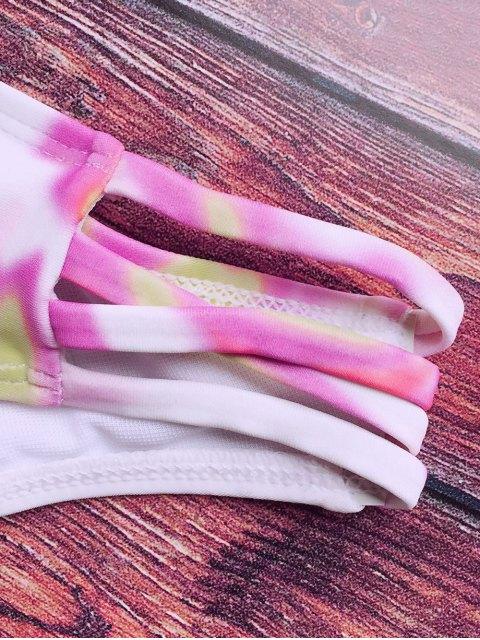 ladies Halter Padded Tie Dye Bathing Suit - PINK M Mobile