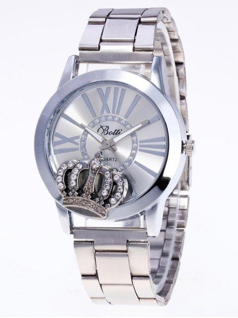 women's Rhinestone Crown Roman Numerals Watch - SILVER  Mobile