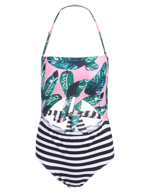 outfits Stripe Palm Leaf Print Bandeau Swimsuit -   Mobile