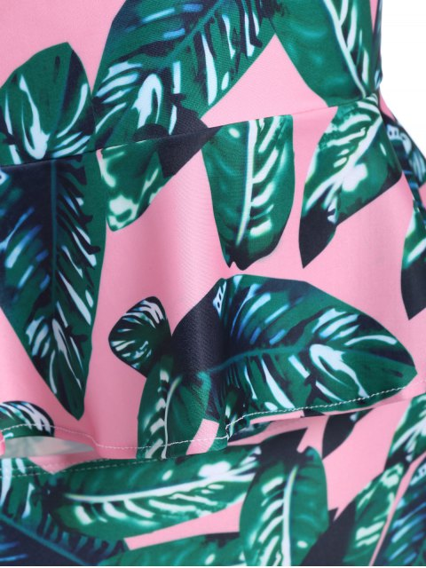 latest Palm Leaf Underwire Peplum Tankini - PINK + GREEN M Mobile