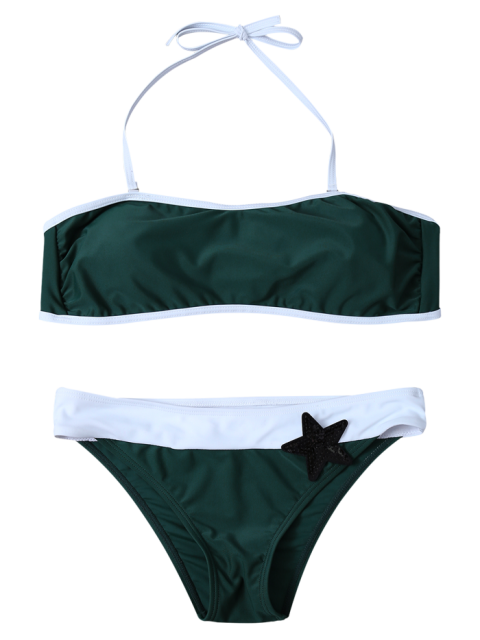 womens Color Block Sequined Bikini Set - BLACKISH GREEN S Mobile