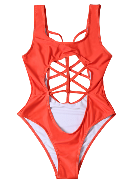 unique Cropped Cut Out One-Piece Swimwear - RED S Mobile