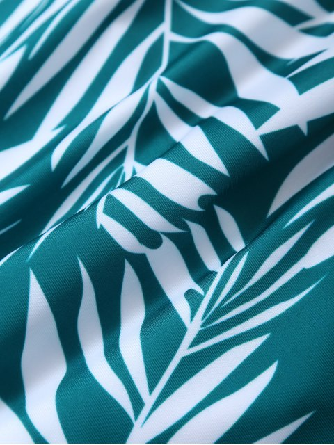 hot Crosscriss Tropical Print One-Piece Swimwear - GREEN L Mobile