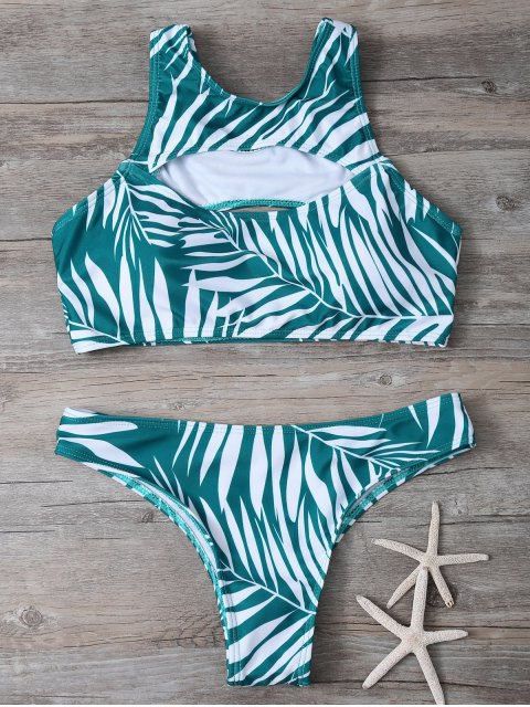 affordable Tropical Print Cut Out Bikini Set - GREEN L Mobile