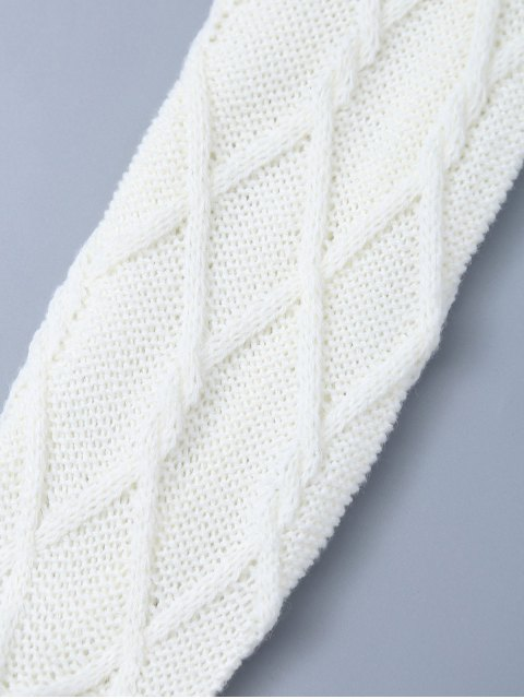 womens Notched Skinny Knitting Stockings - WHITE ONE SIZE Mobile