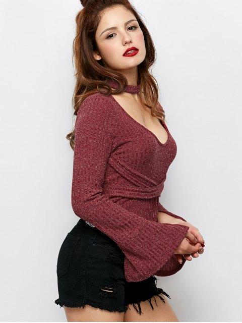 lady Skinny Choker Long Sleeve Bodysuit - CLARET XL Mobile