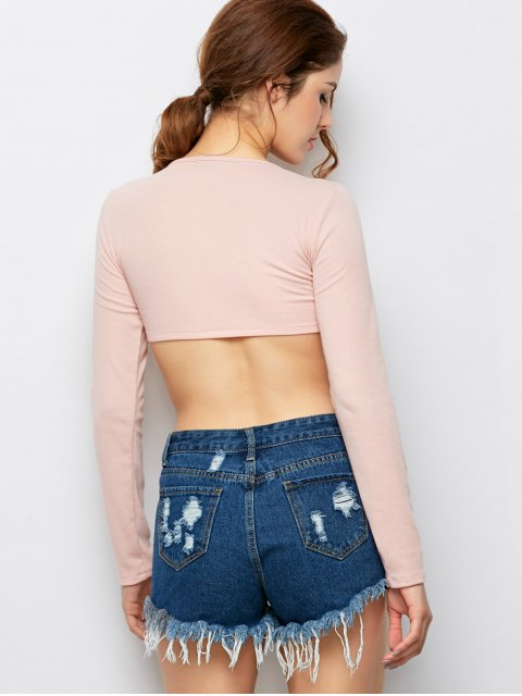 outfits Long Sleeved Lace Up Crop Top - PINK L Mobile