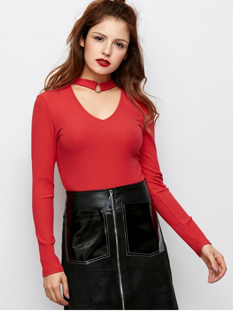 trendy Casual Choker Ribbed Knitwear - RED 2XL Mobile