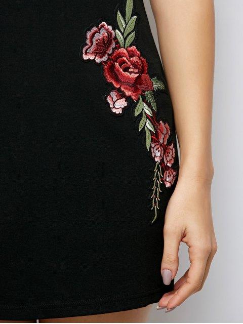 women Flounced Floral Bodycon Dress - BLACK S Mobile