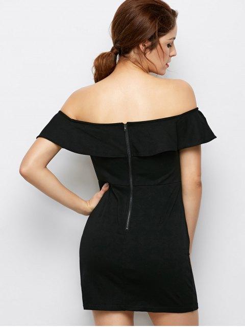 buy Flounced Floral Bodycon Dress - BLACK L Mobile
