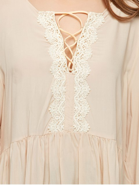 affordable Lace Up Bell Sleeve Trapeze Top - OFF-WHITE XL Mobile