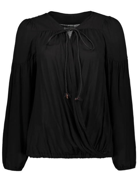 chic Crossover Draped Top - BLACK XL Mobile