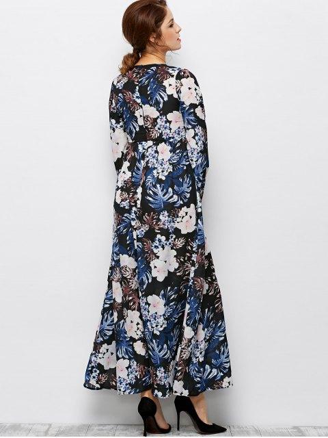 online Printed Maxi Boho Dress - BLACK XL Mobile