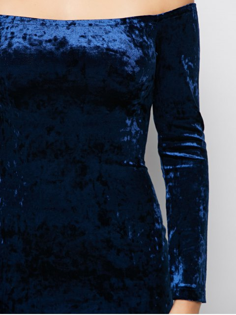 womens Long Sleeve Velvet Choker Party Dress - BLUE L Mobile