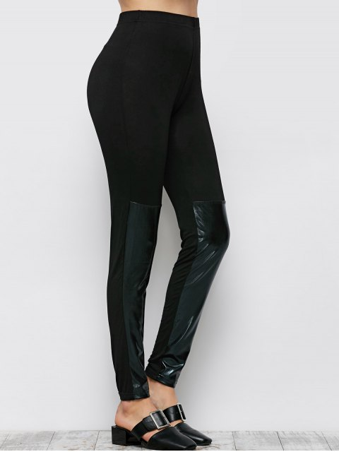 sale Tight Fit PU Leather Panel Leggings - BLACK 2XL Mobile