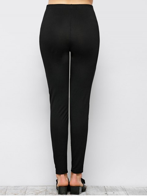 buy Tight Fit PU Leather Panel Leggings - BLACK L Mobile