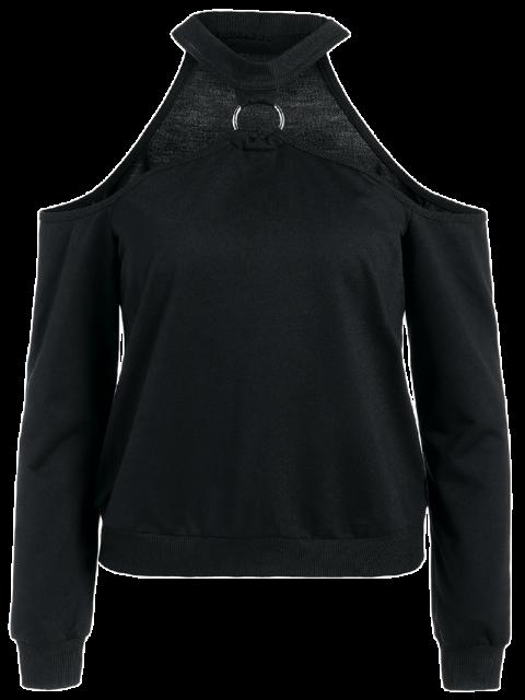 ladies Metal Ring Cold Shoulder Top - BLACK 2XL Mobile