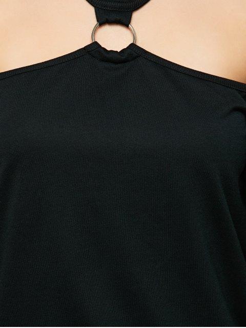 best Metal Ring Cold Shoulder Top - BLACK L Mobile