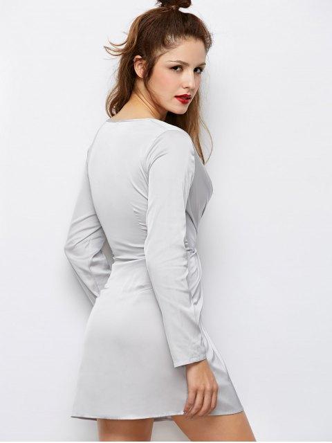 shop Low Cut Wrap A-Line Dress - GRAY 2XL Mobile