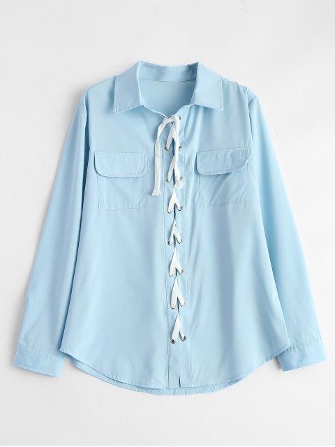 latest Lace-Up Shirt - LIGHT BLUE M Mobile
