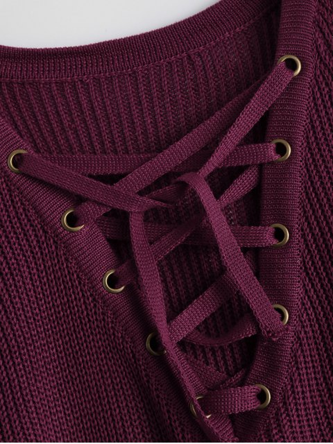 fancy High Low Lace-Up V Neck Sweater - BURGUNDY S Mobile