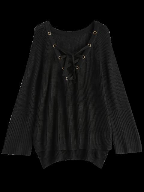 buy High Low Lace-Up V Neck Sweater - BLACK L Mobile