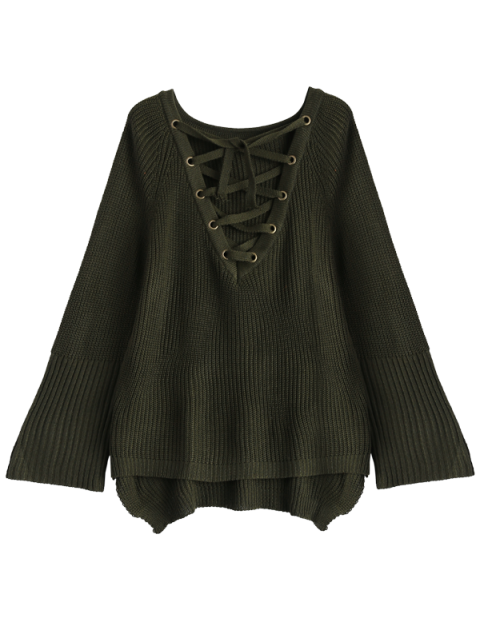 online High Low Lace-Up V Neck Sweater - ARMY GREEN M Mobile