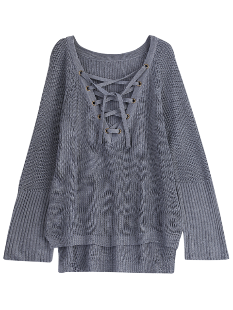 hot High Low Lace-Up V Neck Sweater - GRAY L Mobile