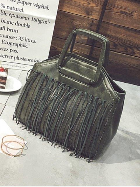 lady Faux Leather Fringed Handbag - GREEN  Mobile