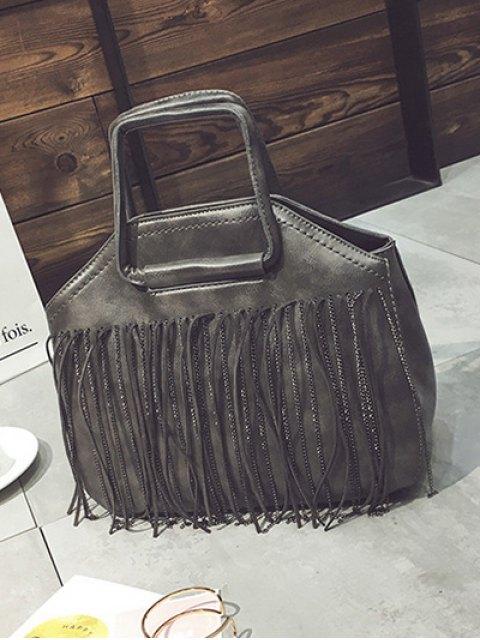online Faux Leather Fringed Handbag - GRAY  Mobile