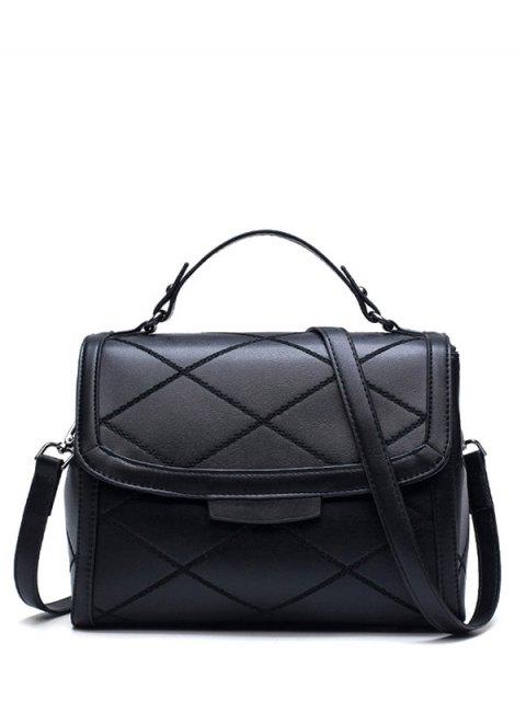 hot Rhombic Faux Leather Handbag - BLACK  Mobile