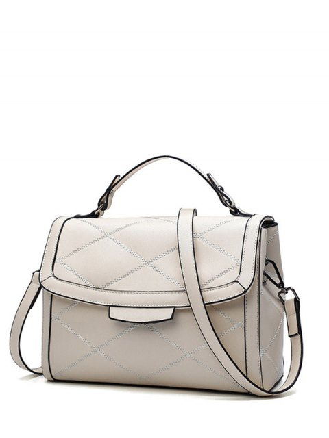 outfits Rhombic Faux Leather Handbag - MILK WHITE  Mobile