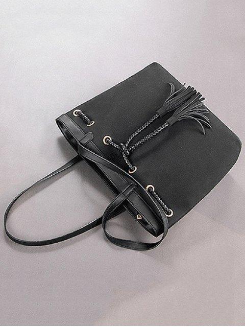 shops Braided Tassel Suede Panel Shoulder Bag - BLACK  Mobile