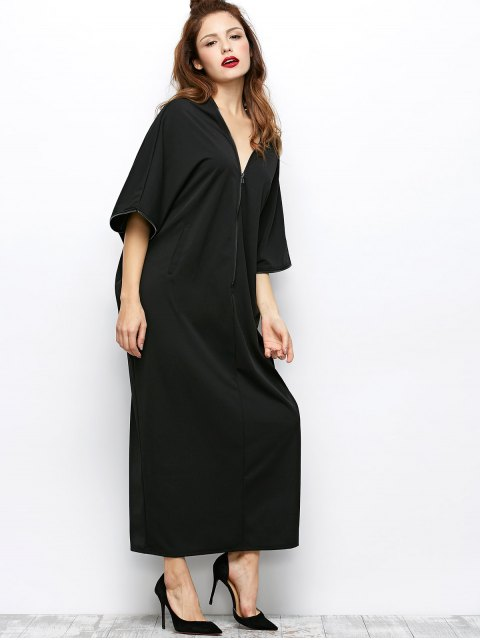 shops Zippered V Neck Loose Maxi Dress - BLACK M Mobile