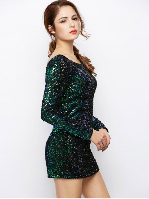 fancy Sequin Sparkly Round Neck Bodycon Dress - GREEN L Mobile