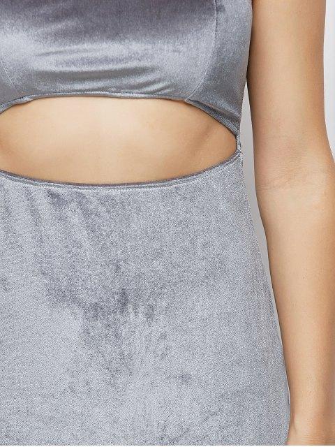 women's Velvet Cut Out Choker Bodycon Dress - LIGHT GRAY S Mobile