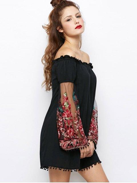 unique Off Shoulder Paisley Dress - BLACK S Mobile