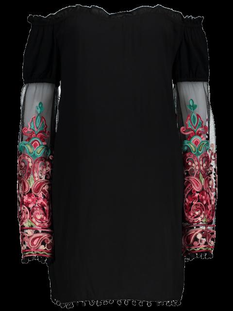 trendy Off Shoulder Paisley Dress - BLACK 2XL Mobile